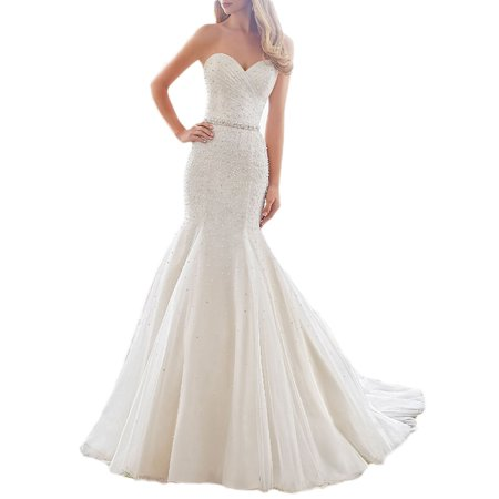 Albizia Womens Spagetti Strap Mermaid Wedding Dress Pearl Train Bride Gown