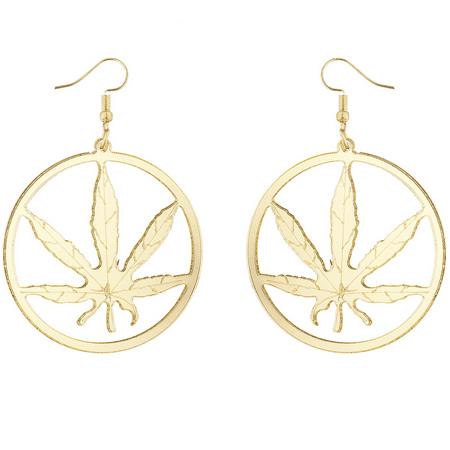 Lux Accessories Gold Tone Weed Marijuana Sign Hippie Circle Dangle Earrings - Hippie Earrings