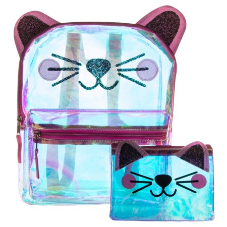Glitter Cat Face Backpack Set - Super Cute Holographic and Sparkly Clear Polyester Cat Face Mini Backpack and Coin Purse Set (2 Piece Set)
