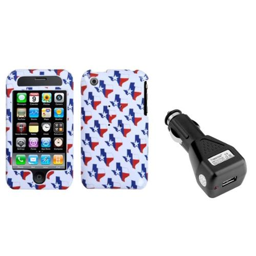 Insten Texas Phone Case For iPhone 3G/3GS   USB Car Charger Adapter