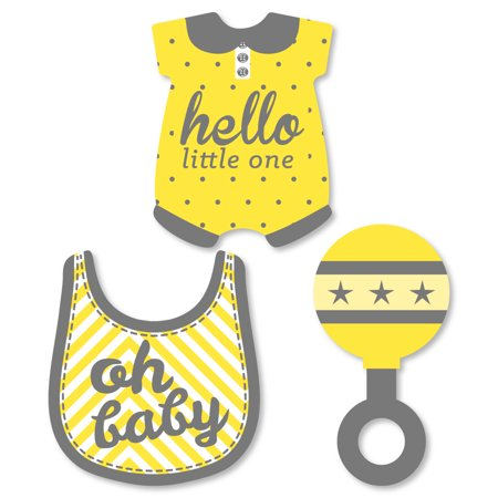 Hello Little One - Yellow and Gray - DIY Shaped Neutral Baby Shower Party Cut-Outs - 24 Count