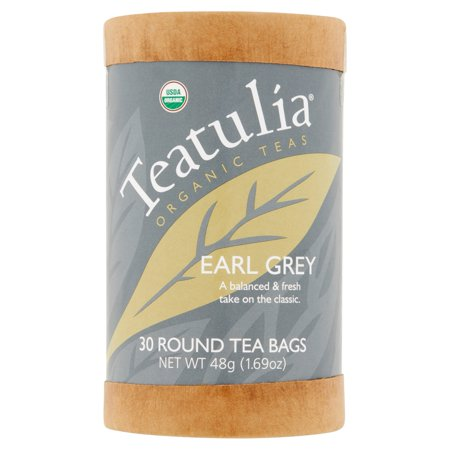Teatulia thés organiques Earl Grey 30 sachets de thé ronds 1,69 oz de