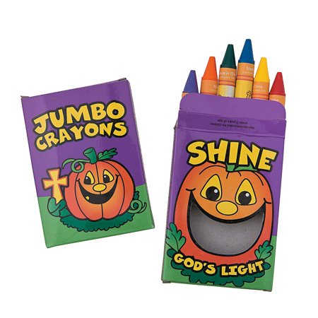 Christian Halloween Crafts (Fun Express - Christian Pumpkin Jumbo Crayons for Halloween - Basic Supplies - Drawing - Crayons - Halloween - 12)