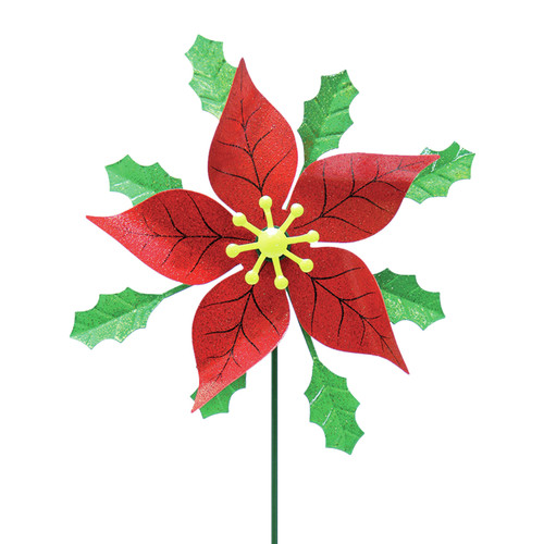 Exhart Poinsettia with Holly Spinner Garden Stake