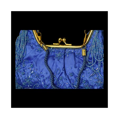 Blue Womens Shoulder Bag - Elegant Beaded Sequin Design Evening Bag for Women PS3150NG - Beaded Purse Designs