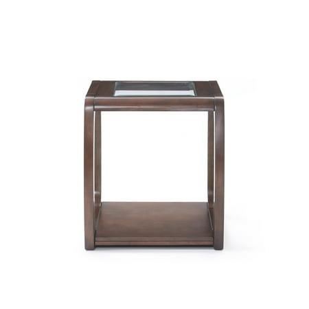 Emerald Home Regent Dark Walnut Finish and Glass End Table with Glass Top, Curved Legs, And Open Shelf
