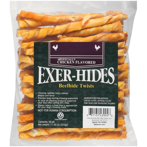 Salix Exer-hides Chicken Flavored Beefhide Twists, 50 count