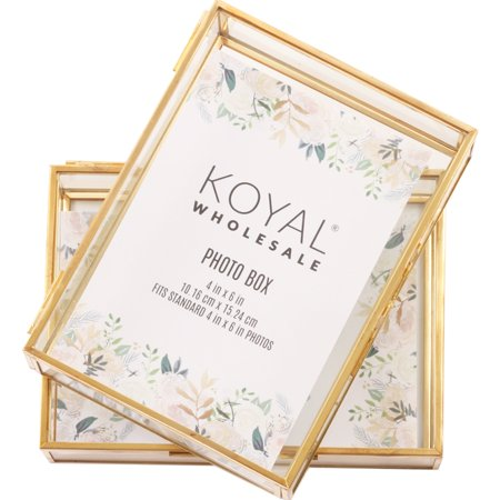 Koyal Wholesale Gold Glass 4 x 6 Inch Photo Box for Photos, Keepsake Photo Memories Storage, Decorative Jewelry Box - Wholesale Online Stores