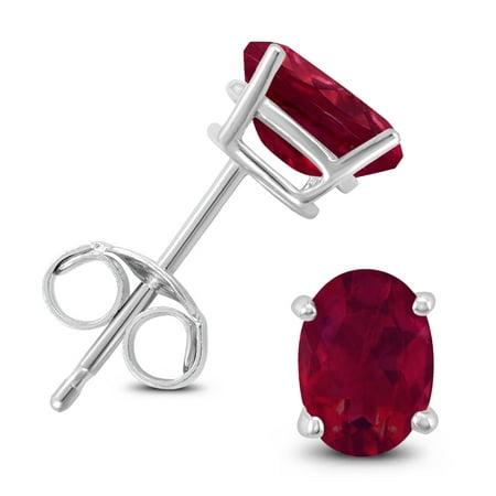 14K White Gold 6x4MM Oval Ruby Earrings 14k 6x4mm Oval Ruby Earring