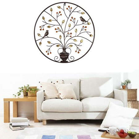 Birds Tree Iron Sculpture Ornament Home Room Wall Hanging Decoration 24'' x 24'' - image 2 de 8