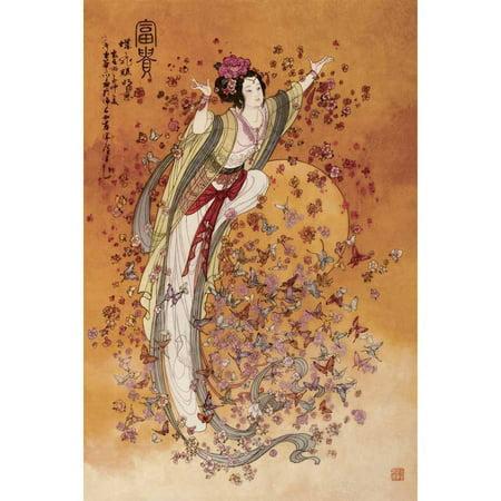 Chinese Art-Goddess of Wealth Vintage Advertising Art