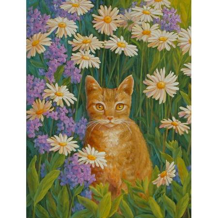 Daisy Hideaway 1 Stretched Canvas - Linda Elliott (12 x 15)