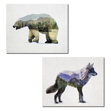 Rustic Rocky Mountain Grey Wolf and Arctic Polar Bear Double Exposure Landscape Set; Cabin Lodge Decor; Two 14x11in Unframed Poster Print