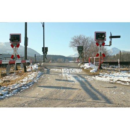 LAMINATED POSTER Train Andreaskreuz Level Crossing Rail Traffic Poster Print 24 x 36