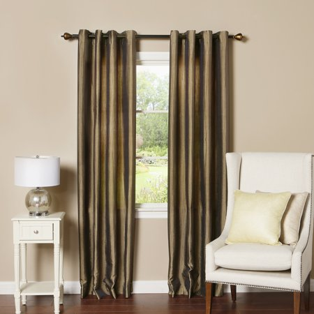 Faux Silk Curtains Chocolate (Quality Home Closeout Faux Silk Brocade Striped Curtains - Chocolate - 52W x 84L (Set of 2)