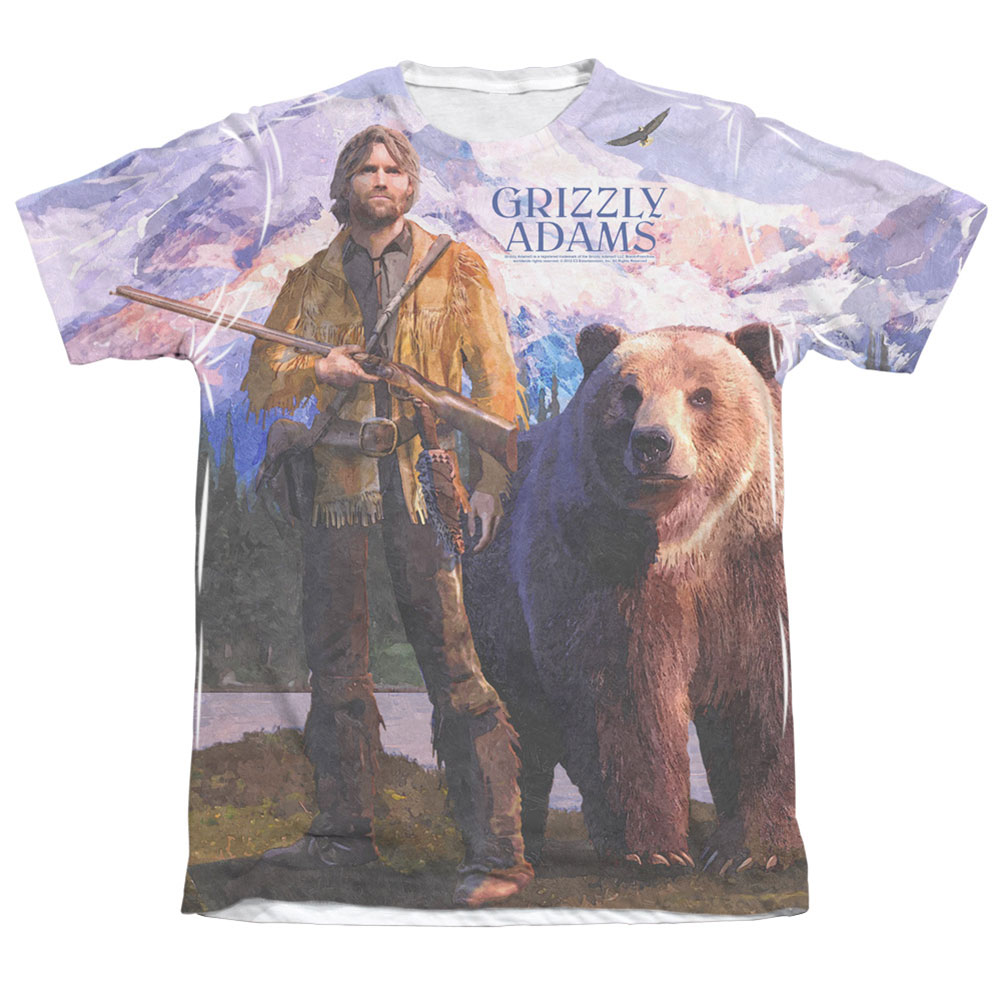 Grizzly Adams Men's  Man And Bear Sublimation T-shirt White