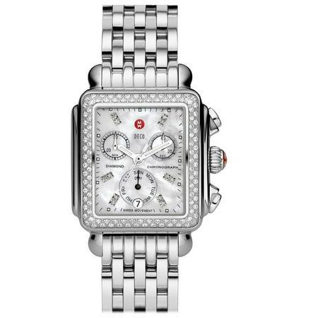 Michele Deco MWW06P000099 33mm Silver Steel Bracelet & Case Synthetic Sapphire Women's...