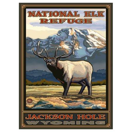 Refuge Point - National Elk Refuge Jackson Hole Wyoming Whistling Elk Travel Art Print Poster by Paul A. Lanquist (9