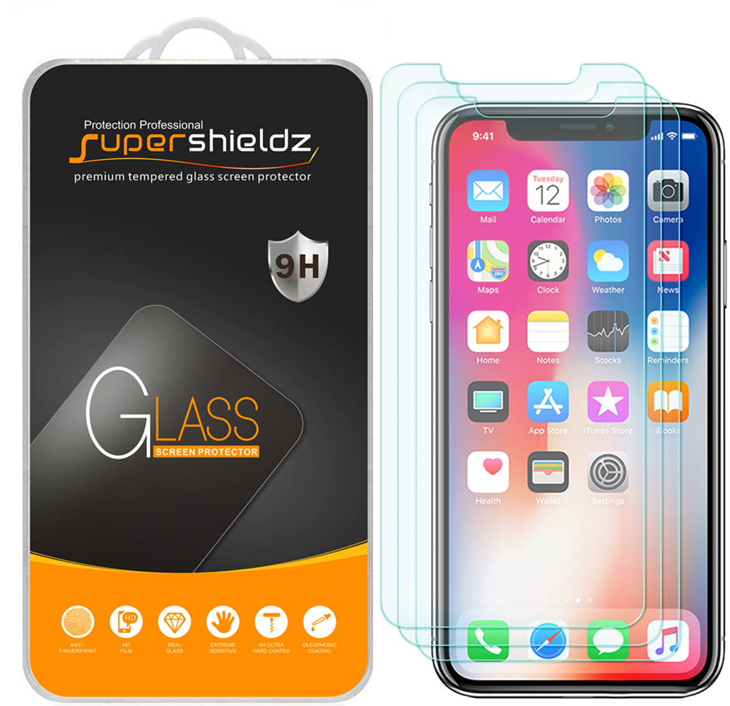 [3-Pack] Supershieldz Apple iPhone X Tempered Glass Screen Protector, Anti-Scratch, Anti-Fingerprint, Bubble Free