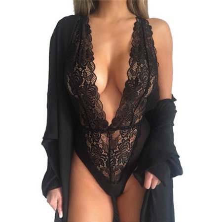 Womens Lace Deep V Neck Bodysuit See Through Lingerie Underwear