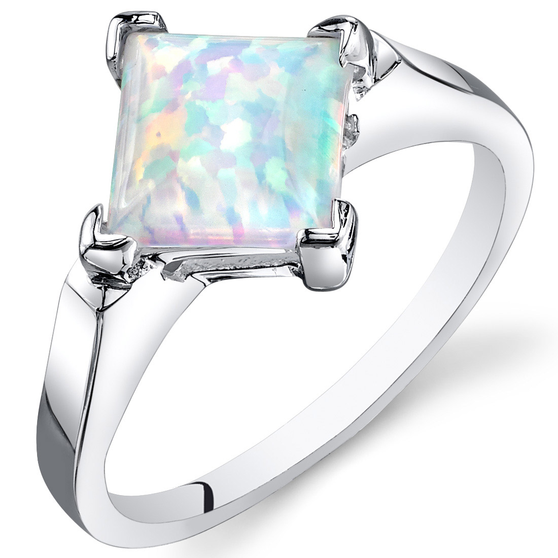 Peora 1.50 Ct Created Opal Engagement Ring in Rhodium-Plated Sterling Silver