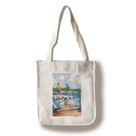 Water Skiing & Wooden Boat (Hill Background) - Lantern Press Poster (100% Cotton Tote Bag - Reusable)