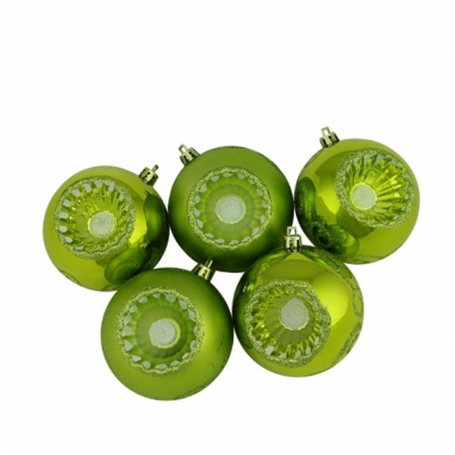 Northlight Seasonal 31756364 Shiny and Matte Kiwi Green Retro Reflector Shatterproof Christmas Ball Ornaments