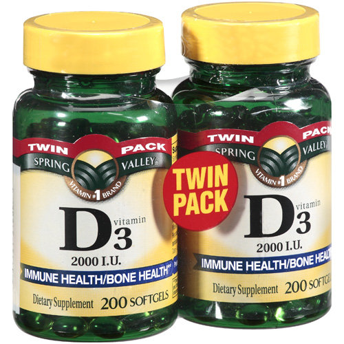 Spring Valley Vitamin D3 2000 IU Twin Pack Dietary Supplement Softgels, 400ct