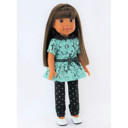 (Polka Dots and Lace Pant Set -Fits 14 Inch Wellie Wisher Dolls | 14 Inch Doll Clothing)