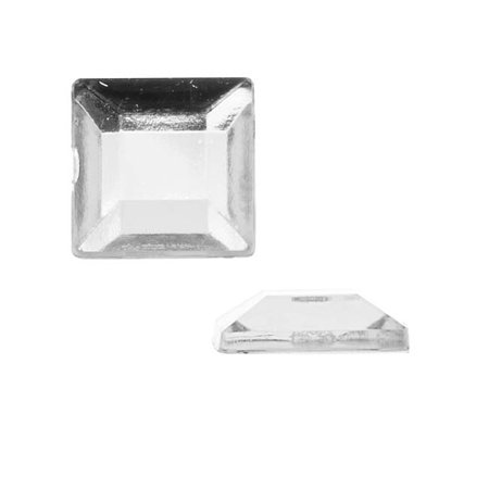 Lucite Plastic Ring - Vintage Lucite Plastic Flatbacks Faceted Square Crystal 12mm (12)