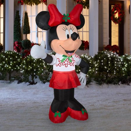 Gemmy Inflatable Minnie Mouse 6Ft. Tall with Red Bow Outdoor Holiday Christmas - Hanukkah Inflatable Decorations