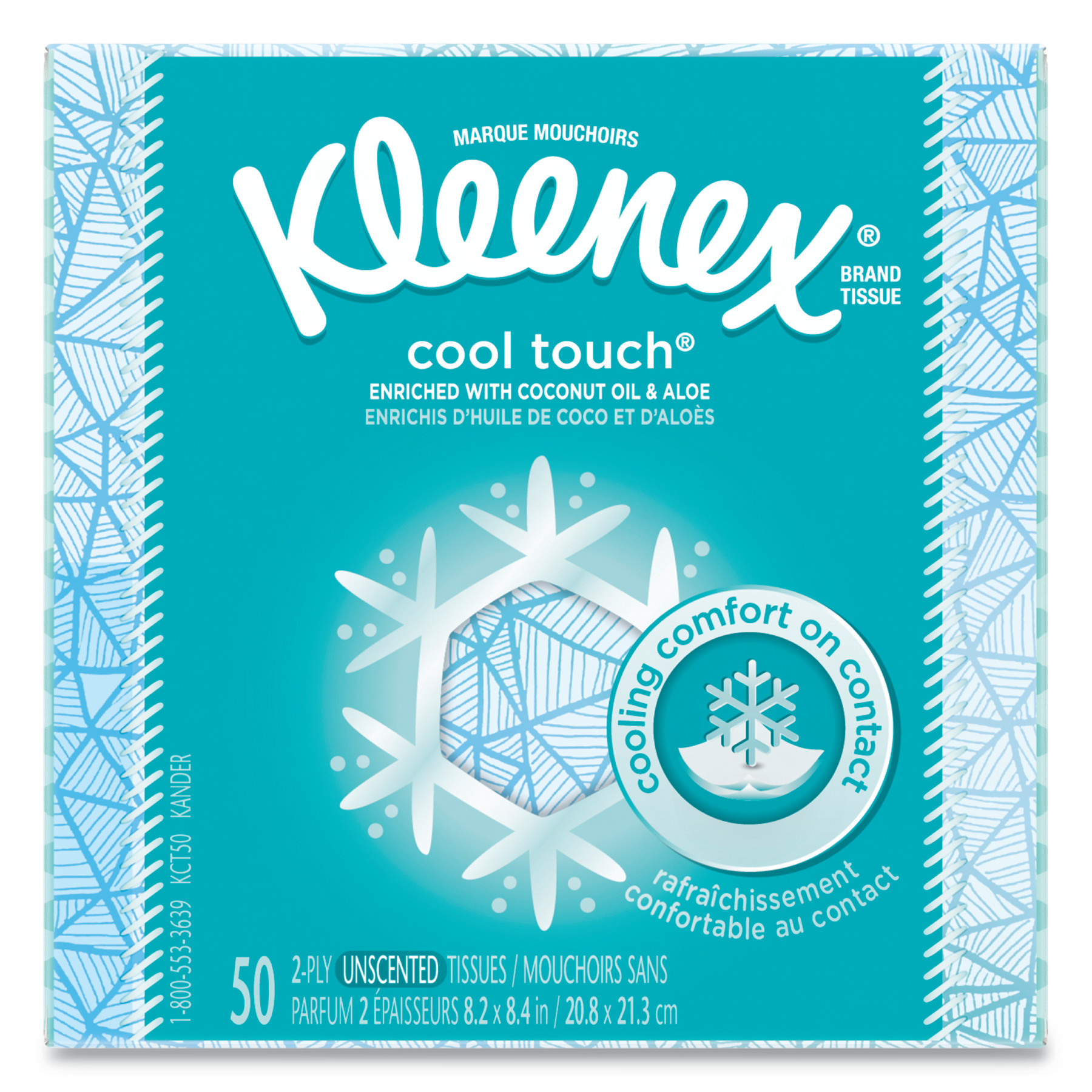 Kleenex Cool Touch White Unscented Tissues, 50 Sheets/Box