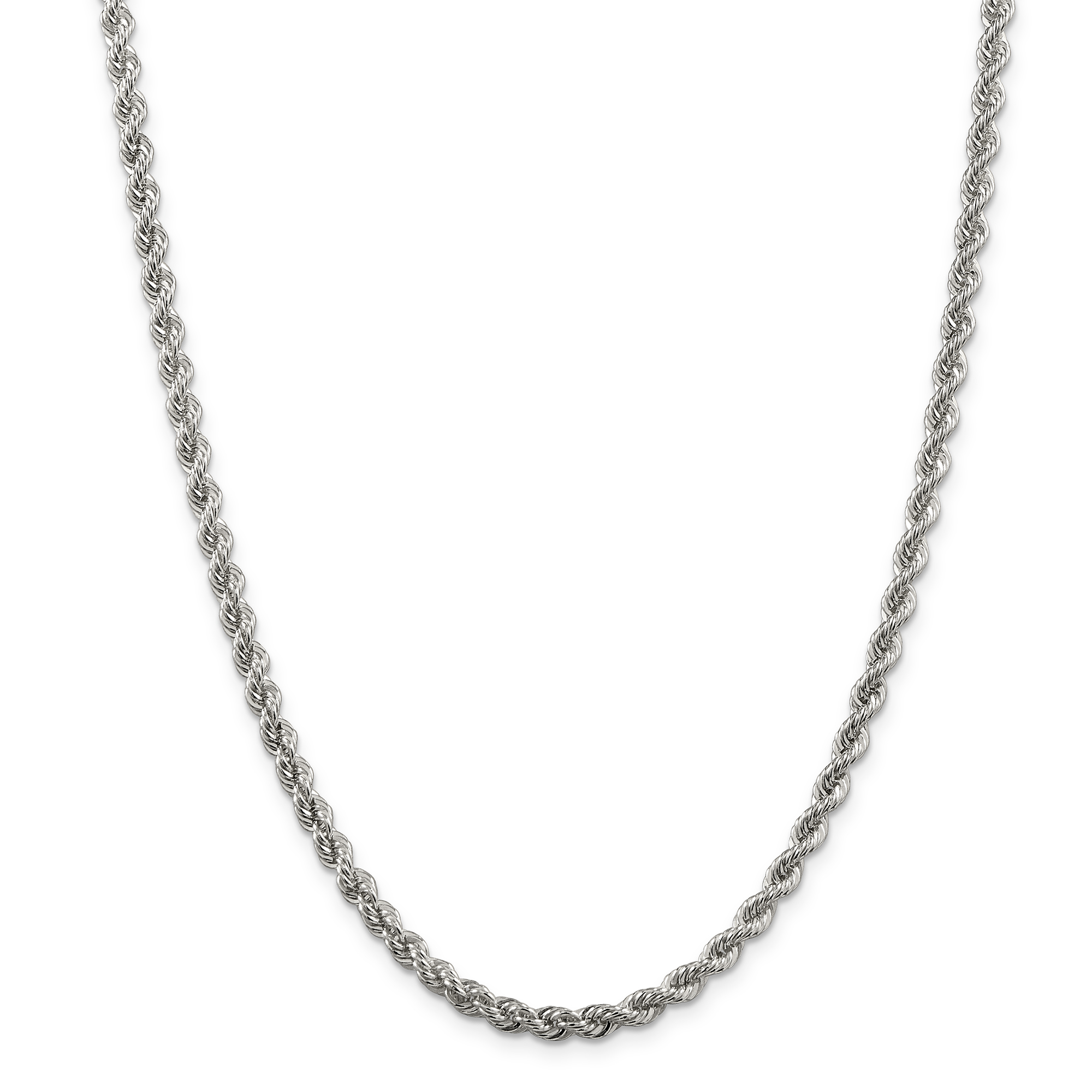925 Sterling Silver 4.3mm Solid Link Rope Chain Necklace 24 Inch ... 7e0b117c1a
