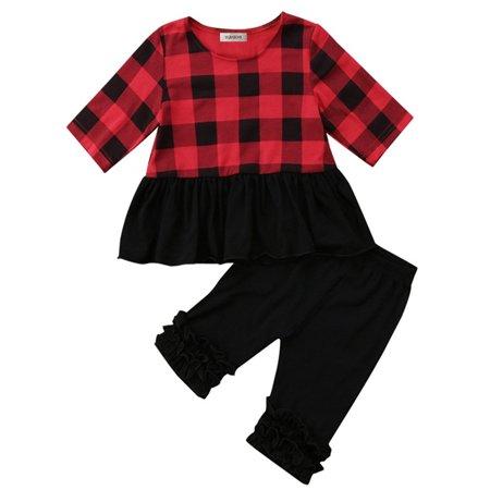stylesilove Baby Toddler Girl Black and Red Plaid Jersey Top and Ruffle Legging 2 Pcs Set (80/3-6 - Dot Ruffle Legging