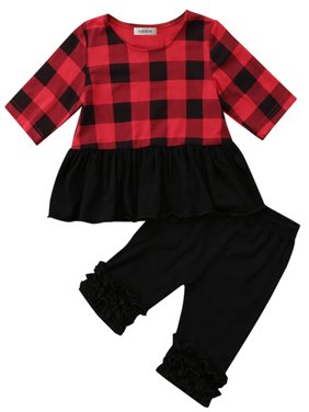 7d1fc41a964f2 Product Image stylesilove Baby Toddler Girl Black and Red Plaid Jersey Top  and Ruffle Legging 2 Pcs Set