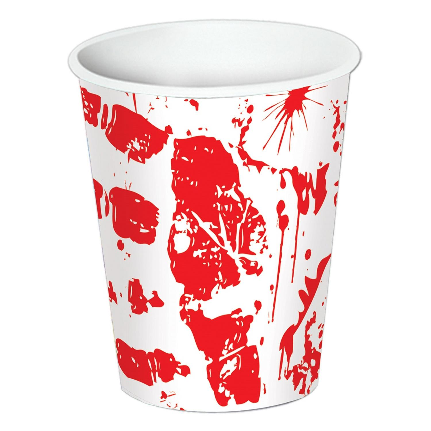 Club Pack of 96 P.S.I. Bloody Handprint Disposable Paper Hot and Cold Drinking Party Cups 9 Oz