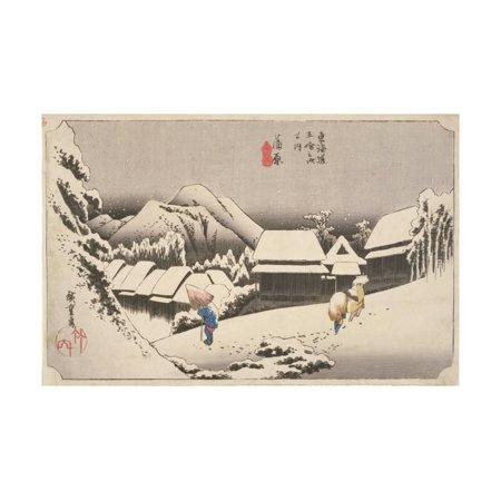 (Evening Snow at Kambara Print Wall Art By Utagawa Hiroshige)