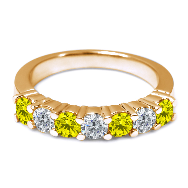 1.11 Ct Round Canary and G/H Diamond 18K Yellow Gold Wedding Band Ring