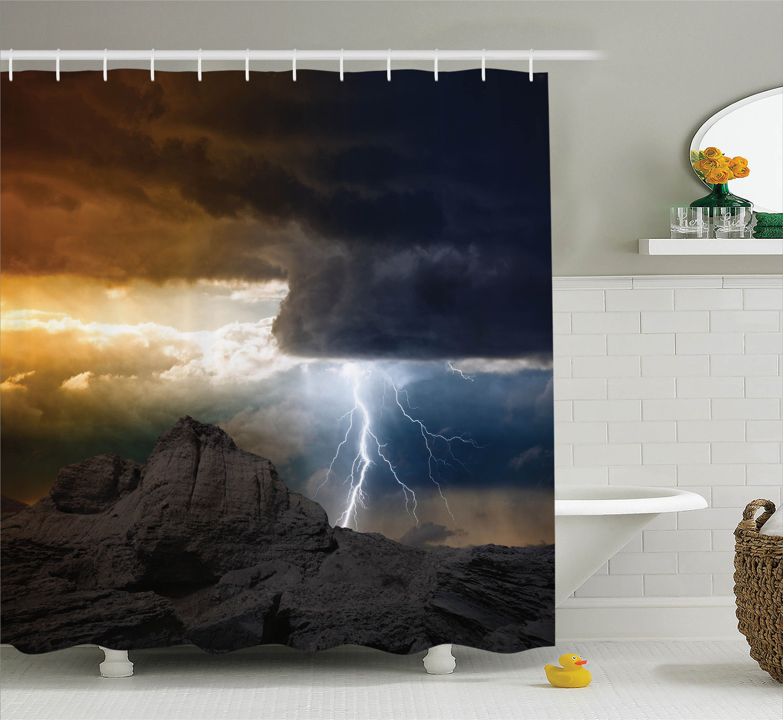 Lake House Decor Bright Lightning Rays From Dark Clouds Hitting Down To The Mountain Storm Theme, Bathroom Accessories, 69W X 84L Inches... by Kozmos