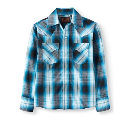Long Sleeve Plaid Western Shirt (Little Boys & Big (Boys Long Sleeve Denim Shirt)