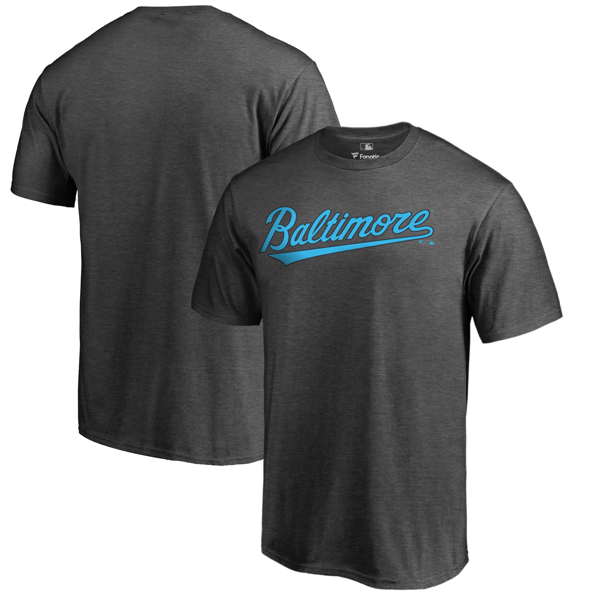 Baltimore Orioles Fanatics Branded 2018 Father's Day Big & Tall Blue Wordmark T-Shirt - Heather Gray