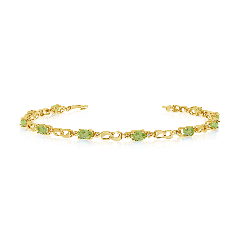 14K Yellow Gold Oval Peridot and Diamond Link Bracelet by