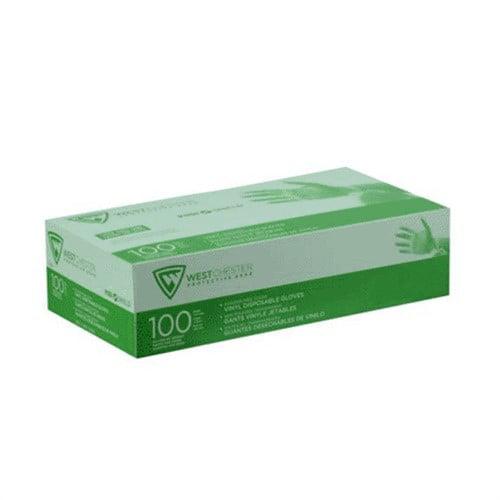 2745 M Economy Disposable Vinyl Gloves Powder Free 100 Pk Box Medium by West Chester