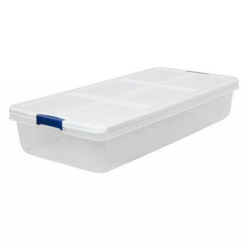 Hefty 52-Quart Latch Box with White Lid and Blue Handles