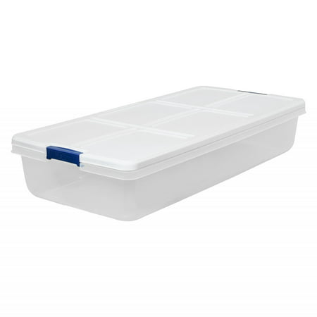 Hefty 52-Quart Latch Box, White Lid and Blue (Plastic Storage Containers With Wheels And Handle)