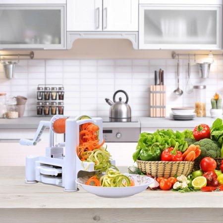 Flamen Tri-Blades Fruits and Vegetable Spiralizer Cutter Slicer - Veggie Salad Spaghetti and Pasta Maker - Halloween Spaghetti Salad