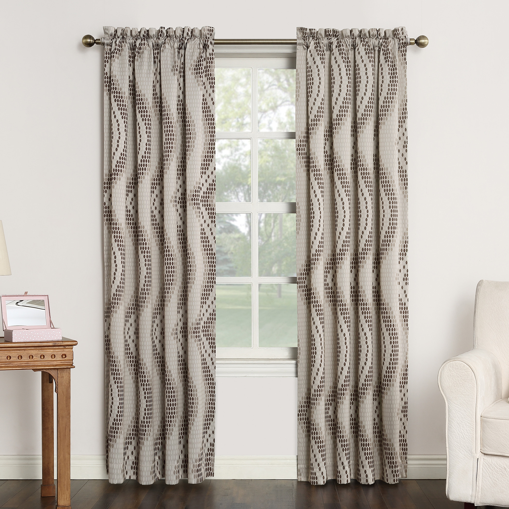 Sun Zero Dax Geometric Print Rod Pocket Room Darkening Curtain Panel