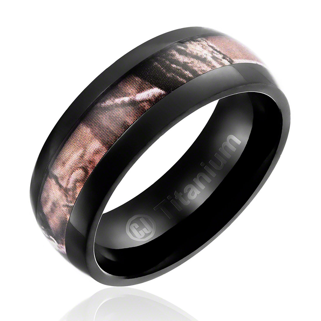 Mens Camo Wedding Band In Titanium 8MM Ring Black Plated With Camouflage  Inlay   Domed Top
