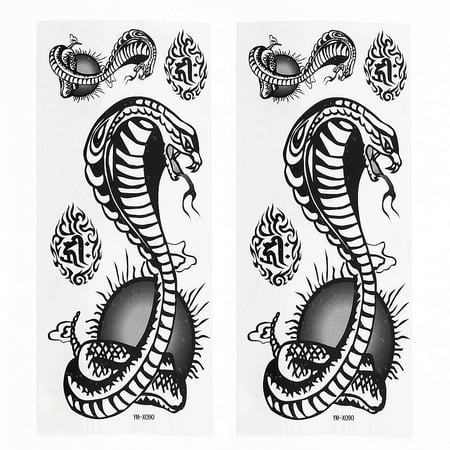 Unique Bargains 2 Sheets Removable Snake Pattern Paper Sticker Temporary Tattoos Black - Snake Scale Tattoo