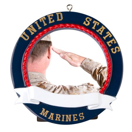 Marines Picture Frame Personalized Christmas Ornament DO-IT-YOURSELF (Photo Frame Ornament)